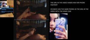 亨特在某段性爱影片内拿著手机,手机保护壳与亨特姪女用的款式相同