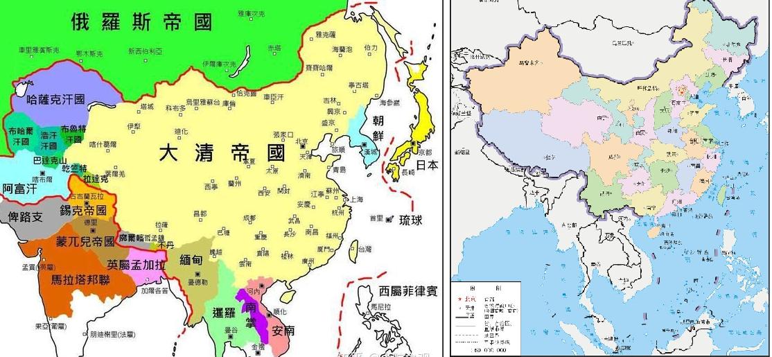清朝地图和现代中国地图