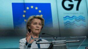 欧盟委员会主席冯德莱恩2021年6月10日在布鲁塞尔欧盟总部的记者会上讲话