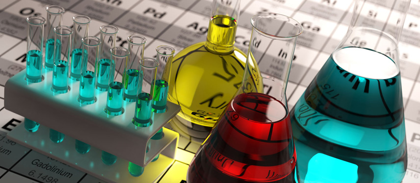 liquid chemicals on top of periodic table