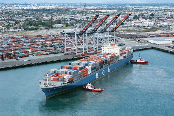 Container ship at Port of Los Angeles