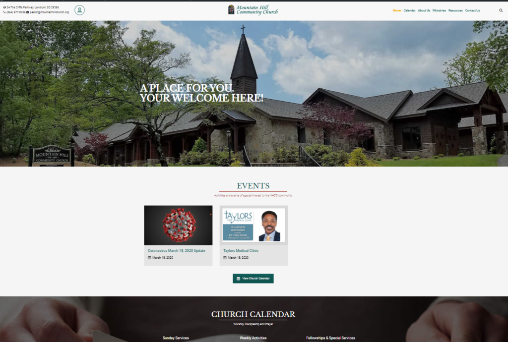 Home page of new MHCC web site
