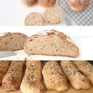 Set of baking kits for bread rolls and bread