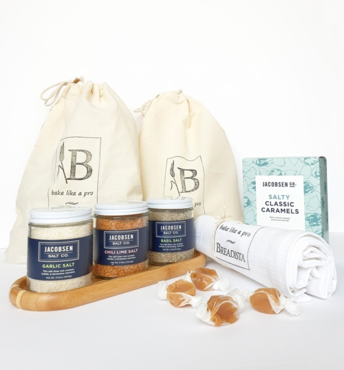 Gourmet gift boxes idea with bread, salt and sugar