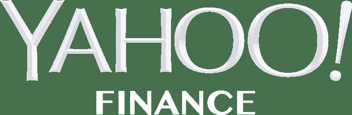 Yahoo finance logo in all white
