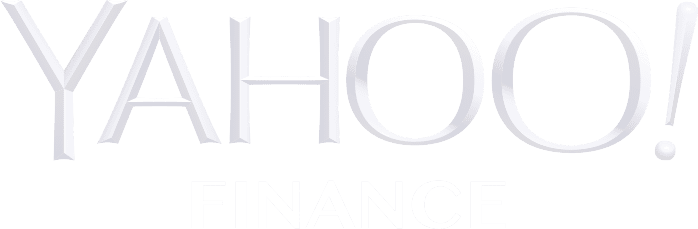Yahoo finance logo in all white