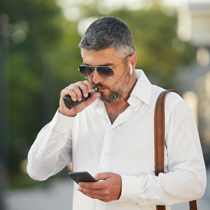 Middle-aged bearded thinking serious concentrated business man s