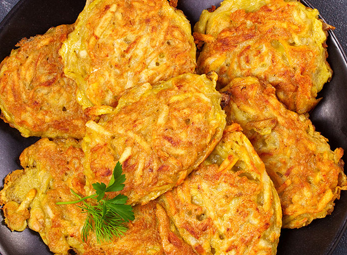 This image has an empty alt attribute; its file name is latkes-3.jpg