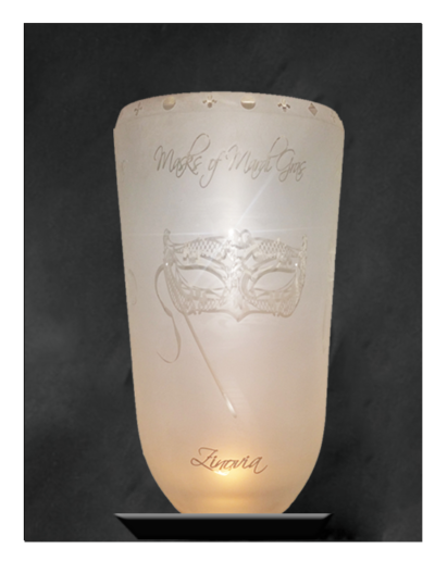 Mardi Gras Etched Vase