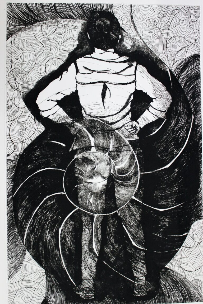 Title: Stand Against the Storm Size: 22 x 25 inch Medium: Dry point Year: 2018