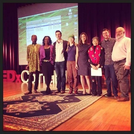 TEDxCornellU 2013 speakers (L-R): Kirby Edmonds from Dorothy Cotton Institute, Liz Ngonzi from Amazing Taste, Rob Garrity from Finlo Solar Powers, Meredith Ramirez Talusan from The Ricefield Collective, Natalie Bridgeman Fields from Accountability Counsel, Lily Yeh from Barefoot Artists, Ben Justus from EGBOK, Bill Myers from Office of Small Credit Union Initiatives - National Credit Union Administration
