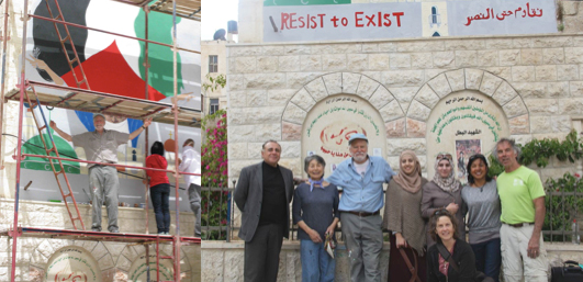(Left) Robert Shetterly standing in front of the mural, (Right) Our program coordinator Majdi Shella, our team, and volunteers Ayat and Ghadeer