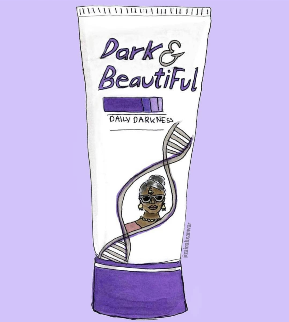 """Illustration of a parody of Fair & Lovely showcasing the product's packaging in purple with the title """"Dark & Beautiful""""."""