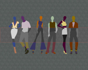 Illustration of five models wearing various shades of colour. A grayscale panel runs through the centre of the image.
