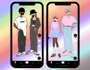 Illustration of two phones with the TikTok app on screen, each displaying a male and female standing side by side.