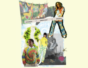 Collage featuring photographs of celebrities, runway looks and garments that represent the tie-dye trend throughout different periods of time.