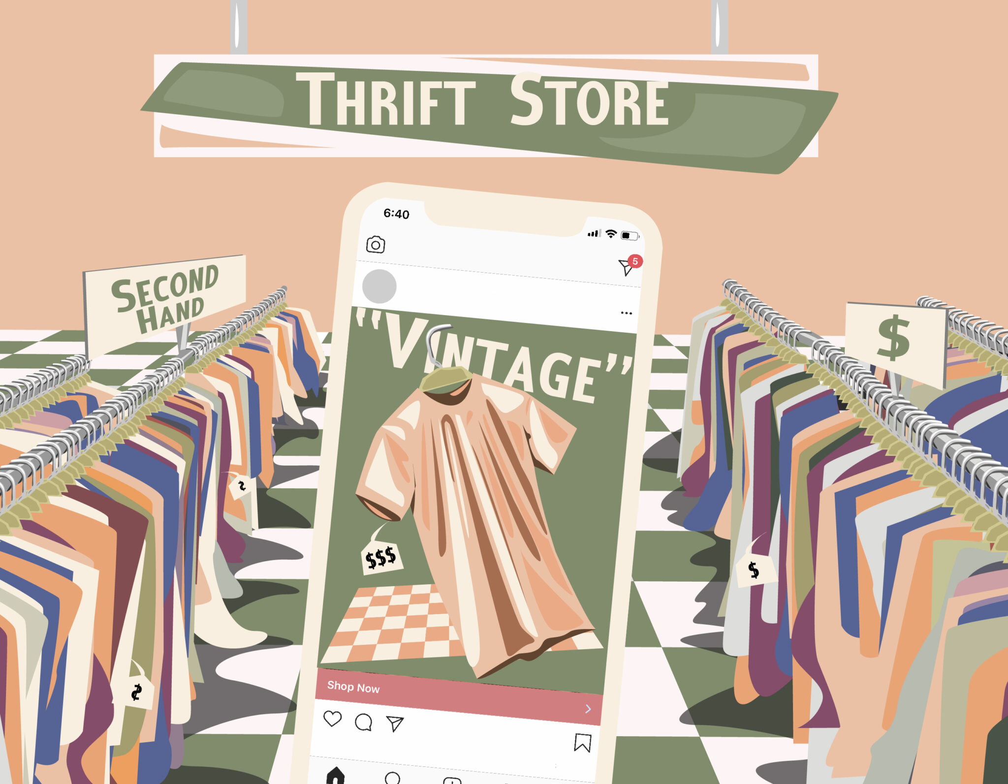 "Illustration of a phone featuring an Instagram post of a tee shirt labelled ""Vintage"" with a high price tag. The background depicts a thrift store with racks of lower price, second hand clothing."