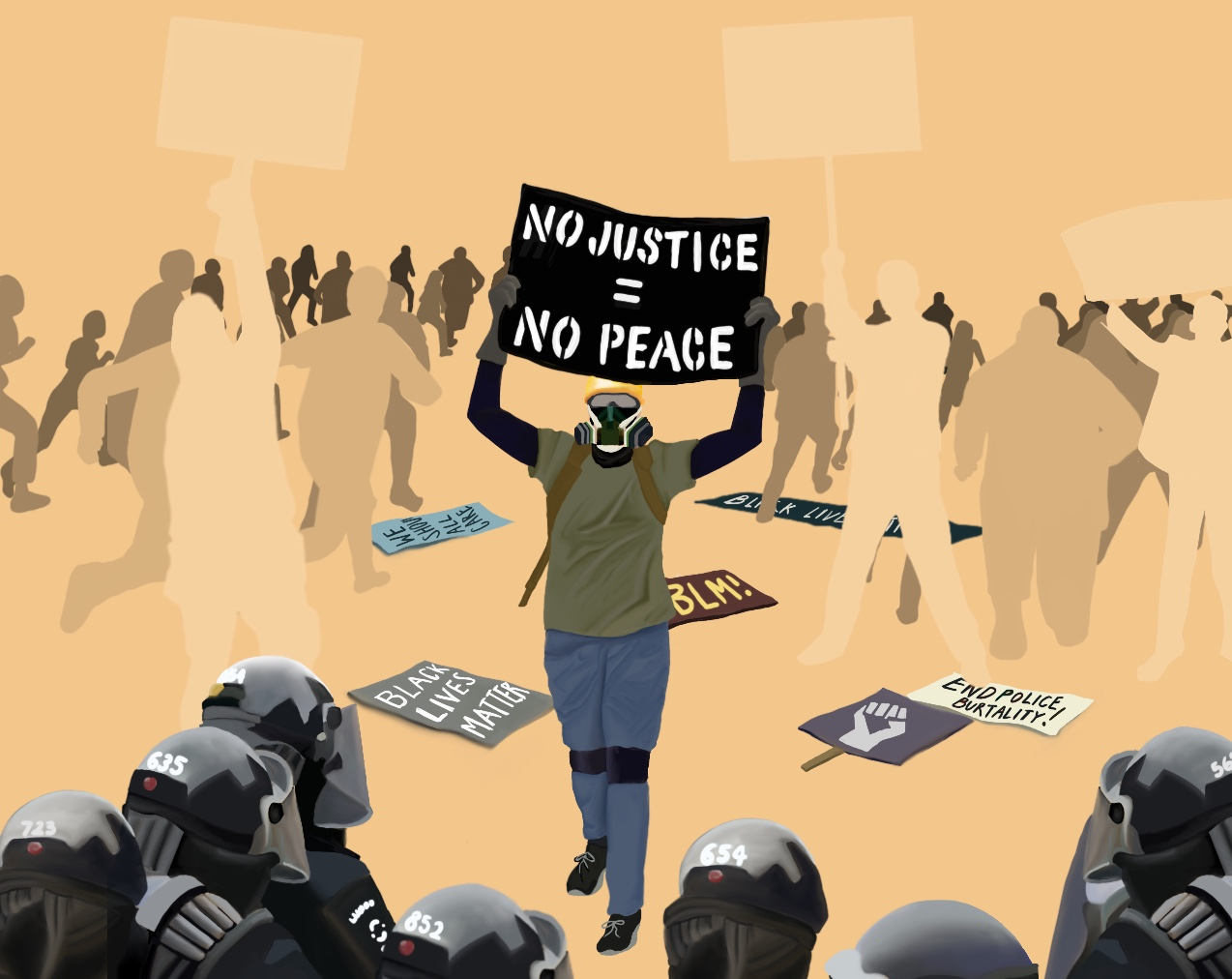 "Illustration depicting protestors fleeing the scene at the presence of police. One protestor in the center, wearing protective gear, holds a sign that reads ""NO JUSTICE = NO PEACE""⁠"