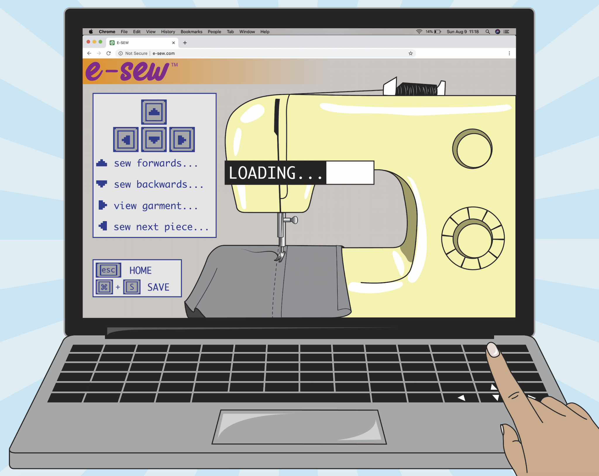 Illustration of a laptop with a virtual sewing machine. A finger navigates the arrow buttons on the keypad.