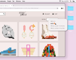 "Illustration of an e-commerce website displaying various pixelated clothing and accessory items. A mouse interacts with a button that reads ""HOT""."