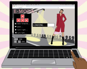 Illustration of a laptop with a virtual runway presentation program. A finger navigates the arrow buttons on the keyboard.