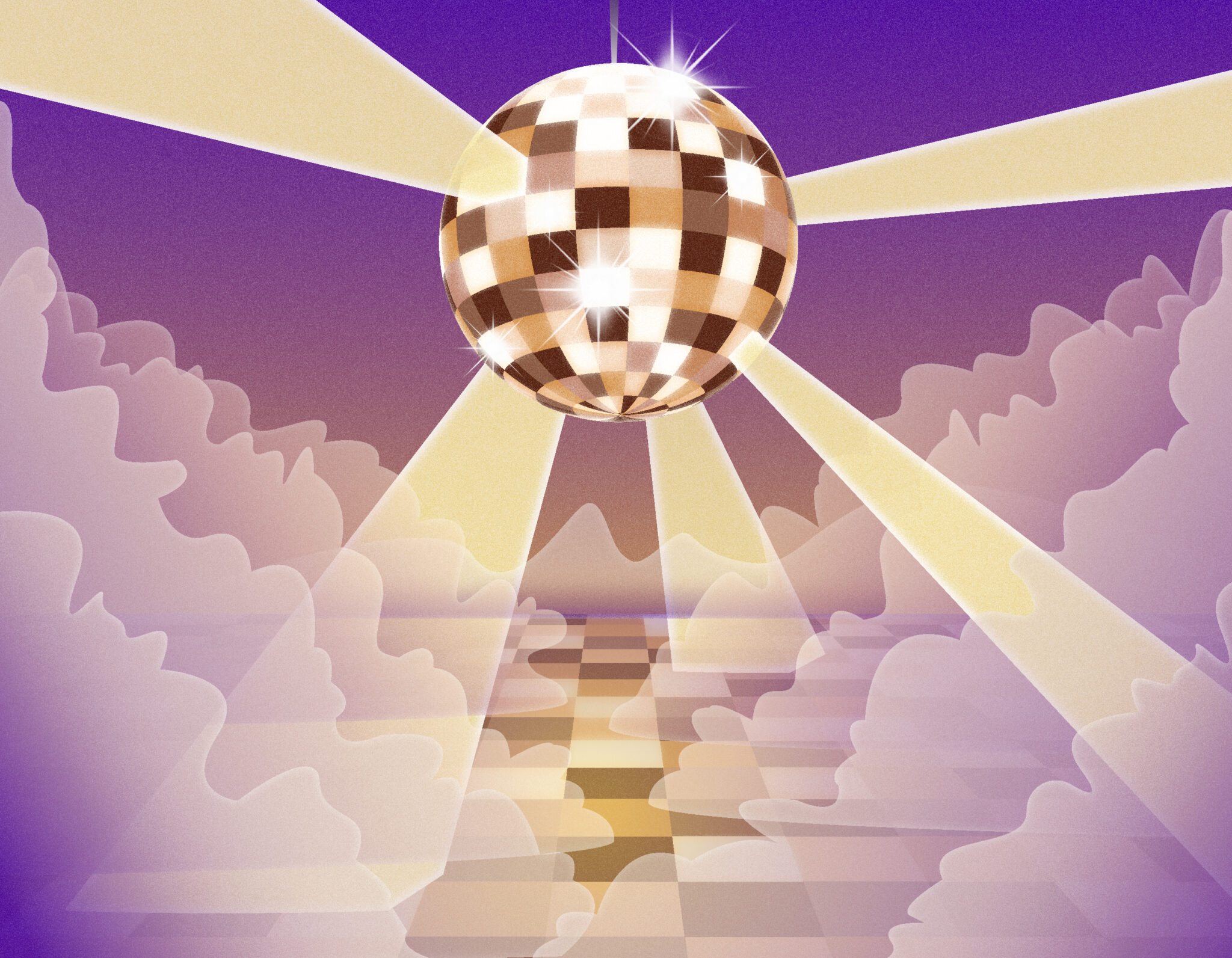 Illustration of a disco ball shining in the clouds, above a dance floor. The ball is composed of various skin tones.