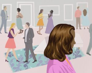 Illustration depicting a networking event where a woman stands alone in the foreground.