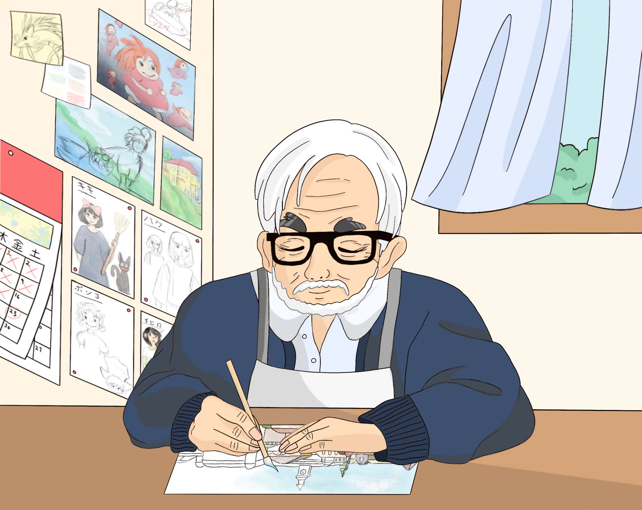 Illustration of Hayao Miyazaki painting at a desk, with character design sheets and scenery paintings on the wall behind him.