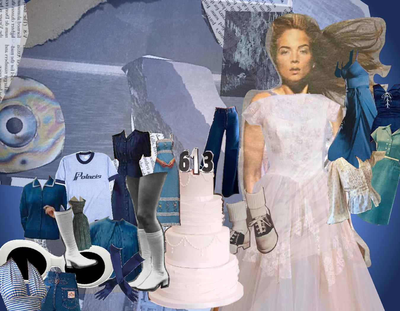 Mixed media collage featuring cutouts of print and images that represent vintage fashion. Items include a 50's wedding dress, gogo boots and bootleg jeans.