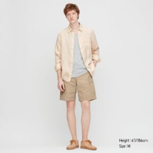 Premium Linen Long Sleeve Shirt in Natural (Uniqlo)