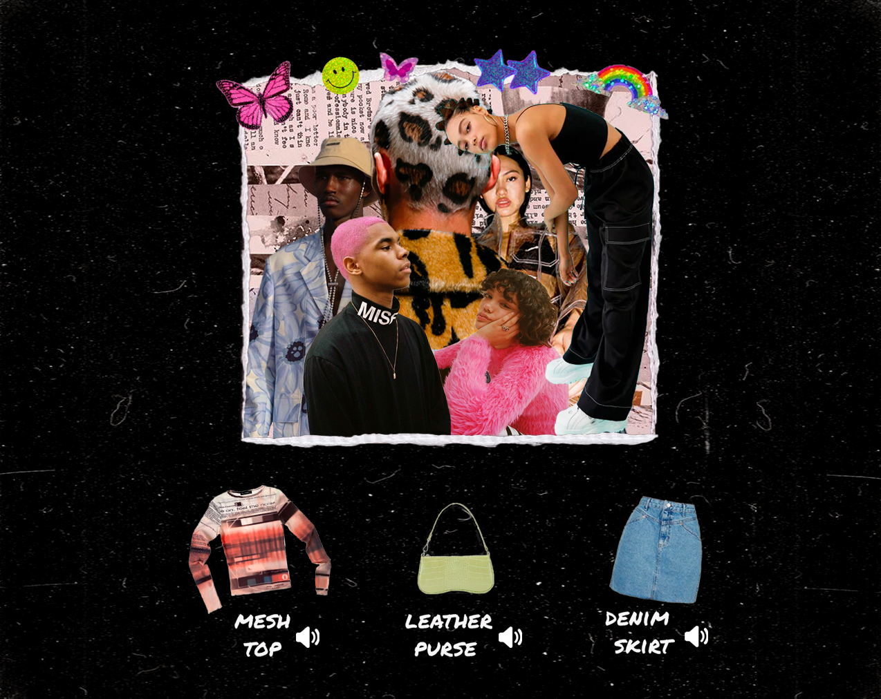 A zine-inspired collage, featuring photographs of current trends. Three articles- a mesh top, leather purse and denim skirt- are accompanied by text.