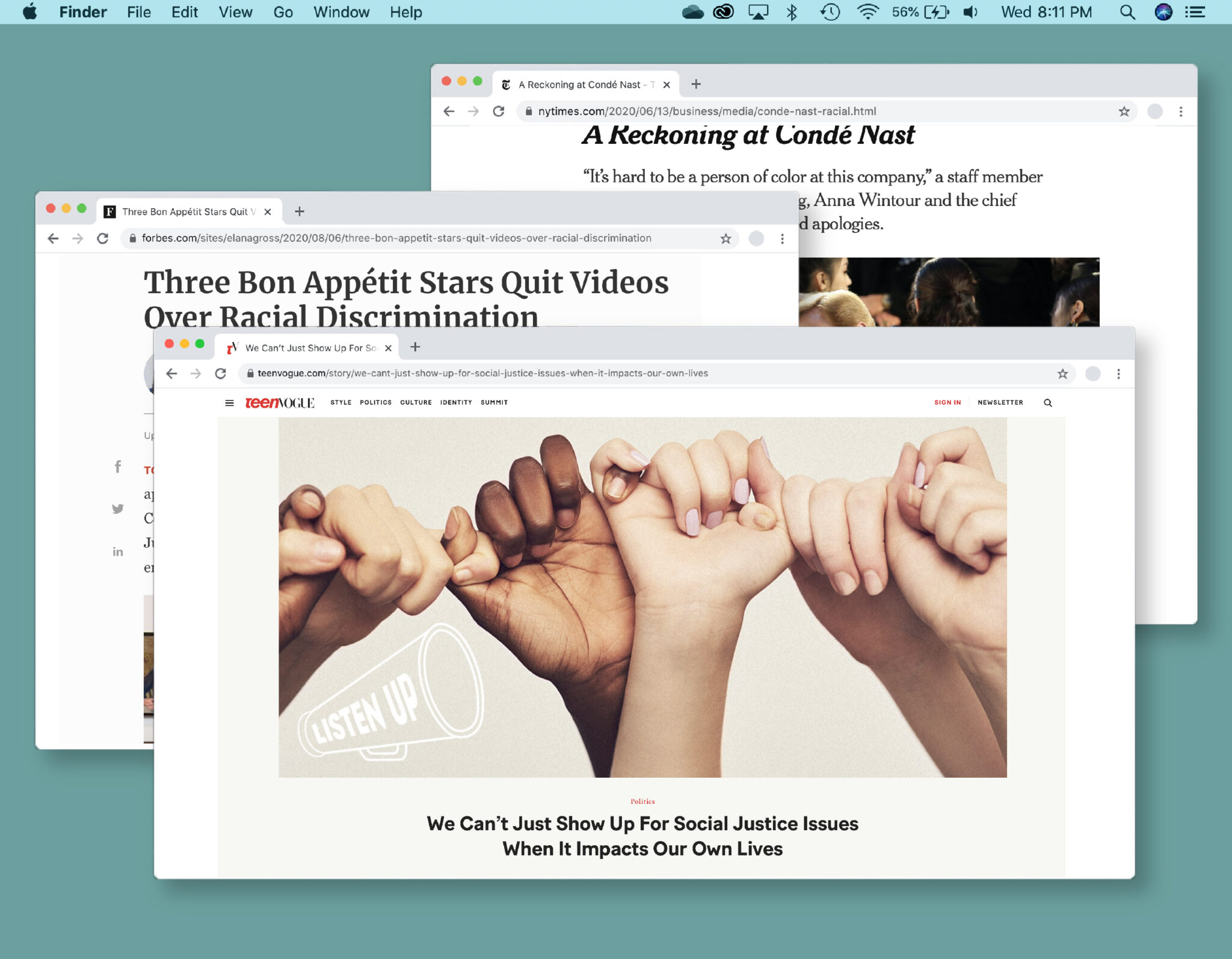 Desktop screen with a Teen Vogue article on social justice at the center, layered above two windows with less progressive content.