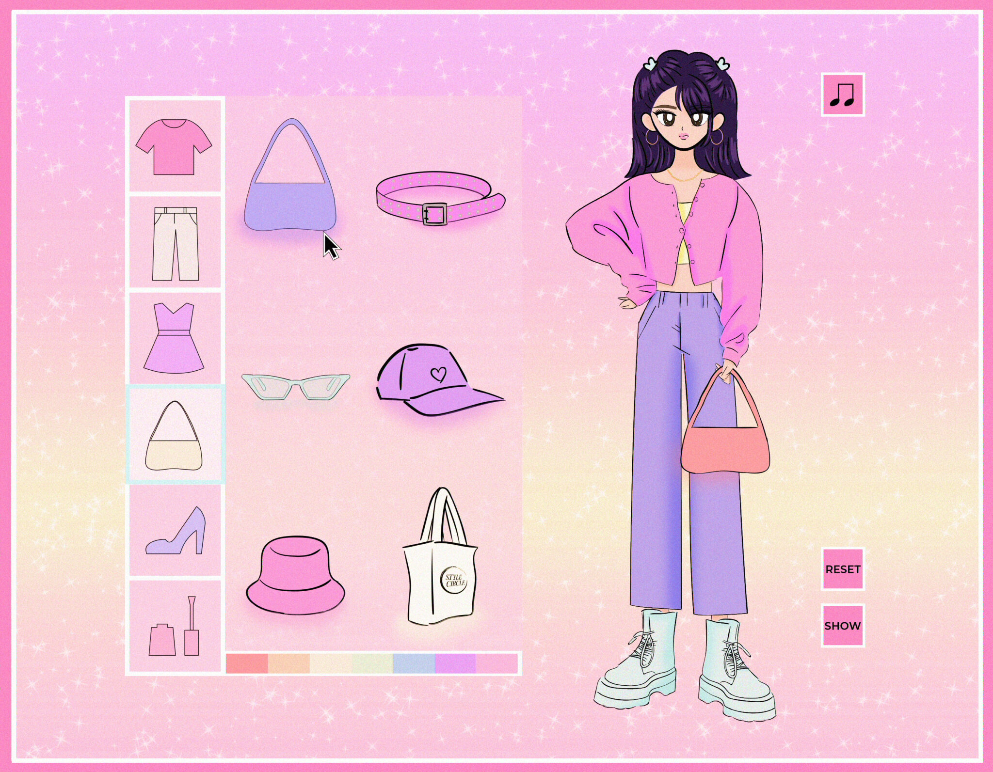Illustration of a virtual dress-up game; a female character stands on the left dressed in trends of the early 2000s.