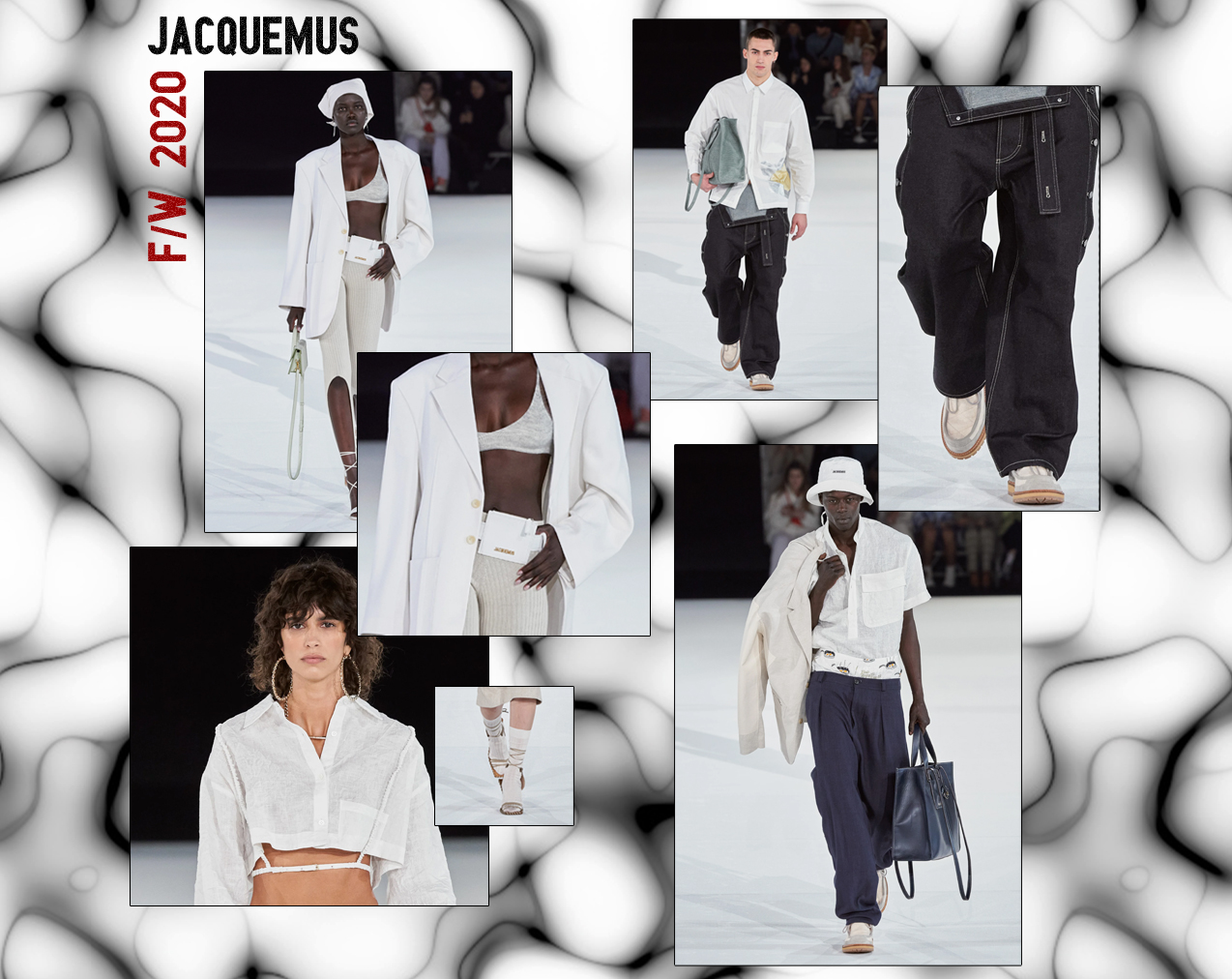 A collage featuring six photographs from Jacquemus' F/W 2020 runway show.