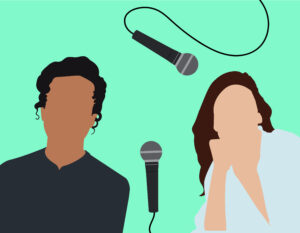 Silhouettes of two figures with microphones.