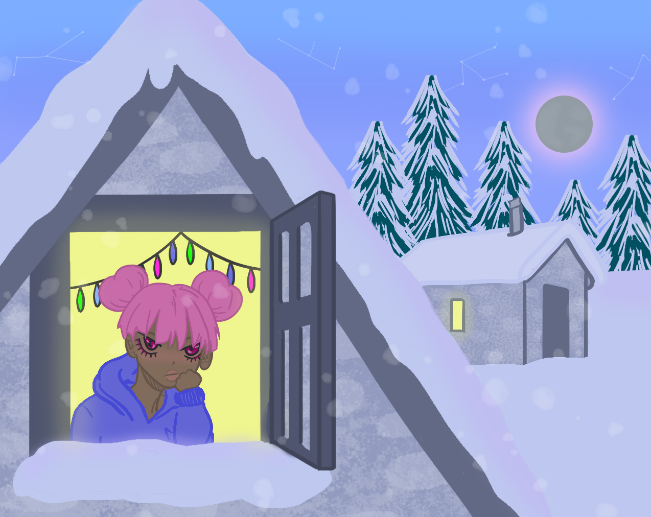 Illustration of a character sitting inside a snowy cabin, looking out the window.