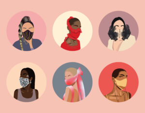 Illustration of six circles, each showing different ways to fashionably wear a face mask.