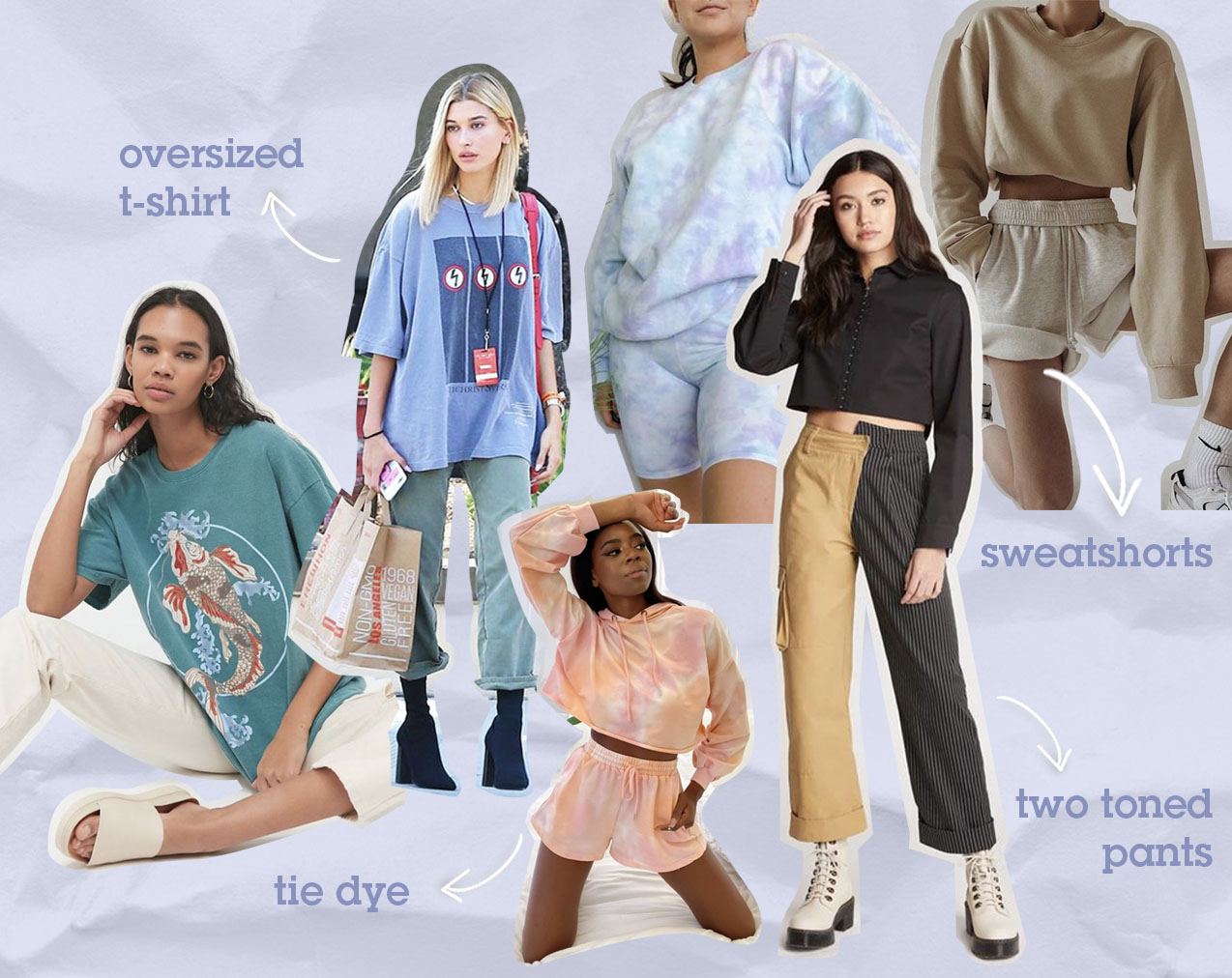 Collage featuring photographs of popular fashion trends, including oversized tees, tie dye and sweat shorts.