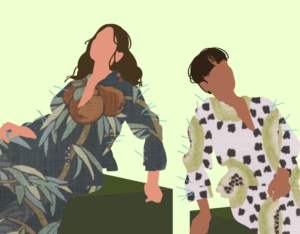 Illustration of two silhouettes wearing dresses overlaid with tropical-esque fabric swatches and stitching details.