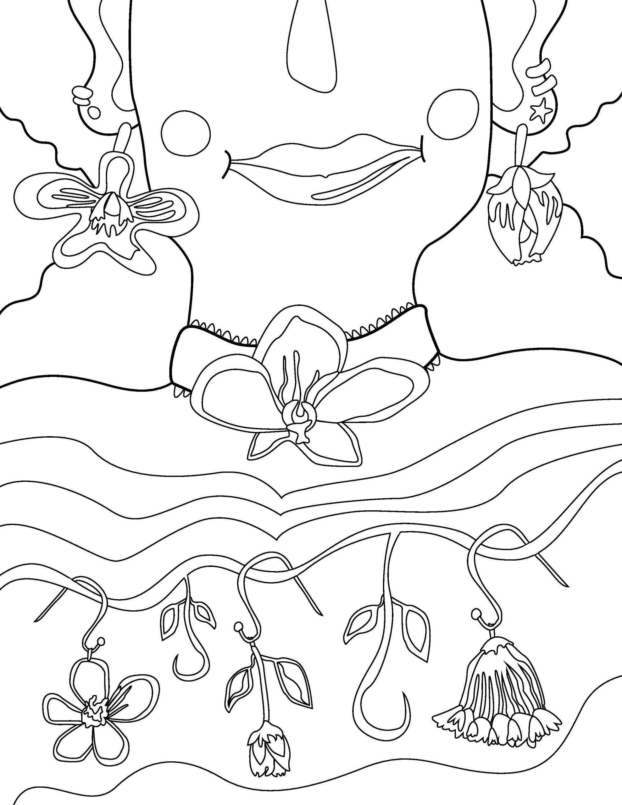 Colouring page illustration close up on a figure's upper chest, neck and lower face. The figure wears floral jewelry.