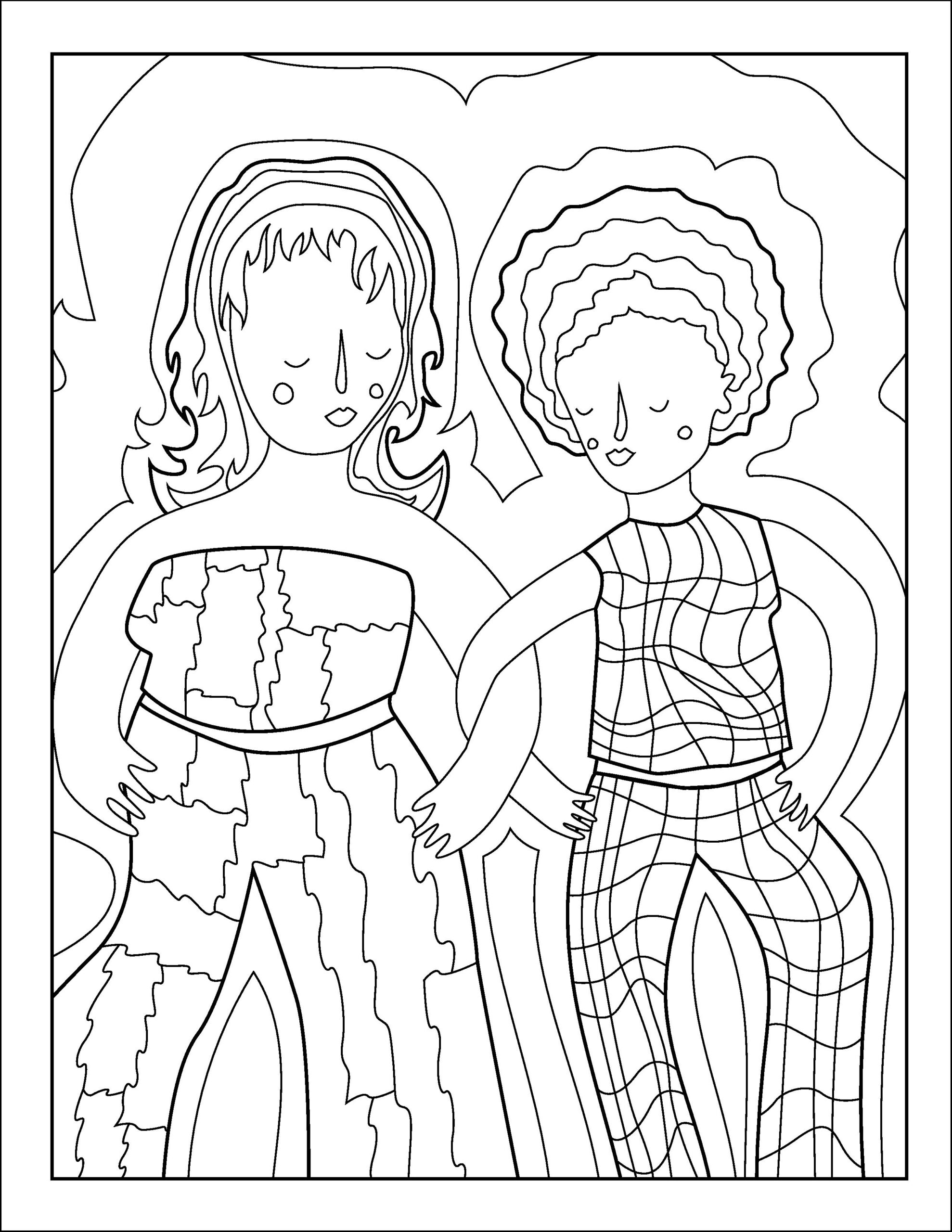 Colouring page illustrations of two figures in matching clothing sets.