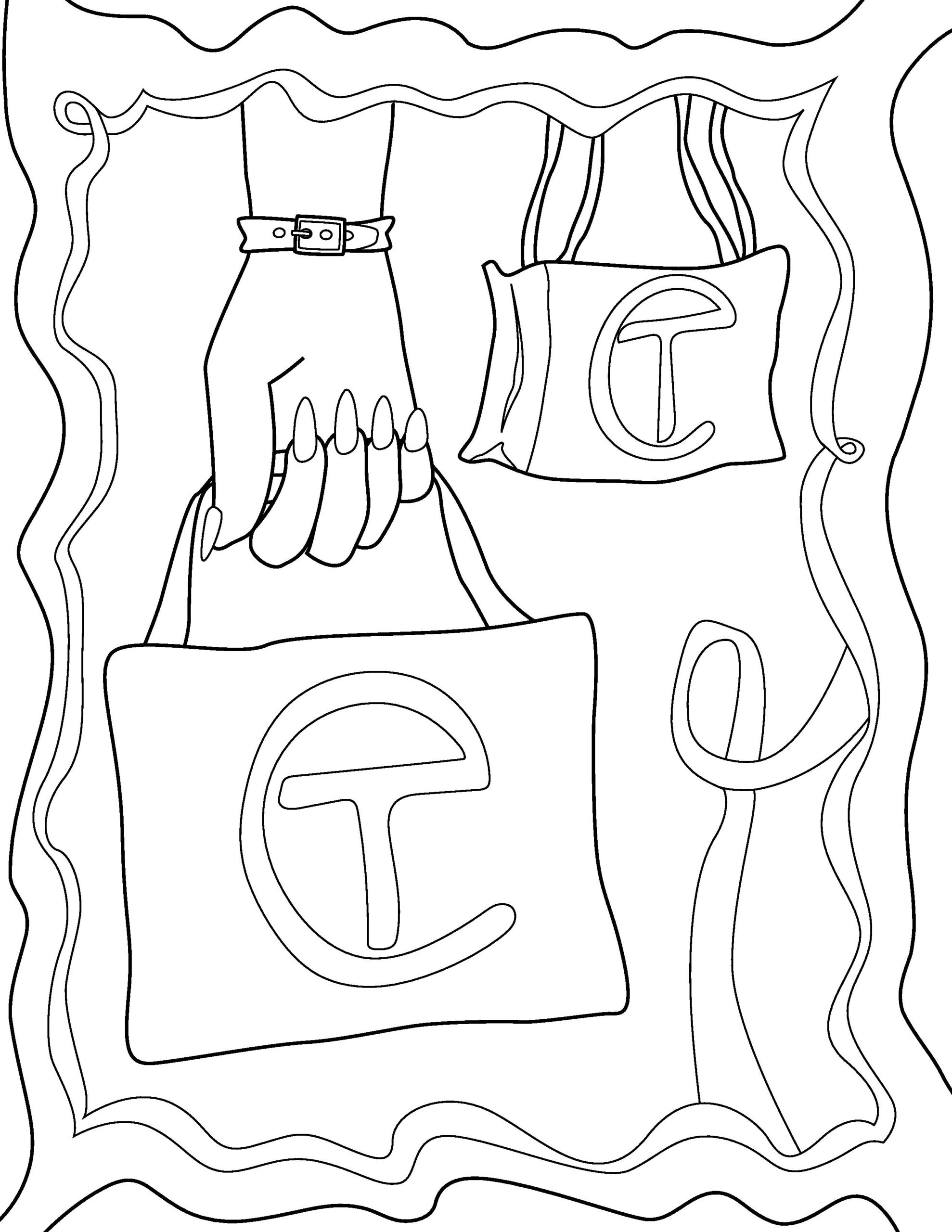 Colouring page illustration of Telfar Shopping Bag, shown twice: once held by a hand wearing a bracelet, once by itself.