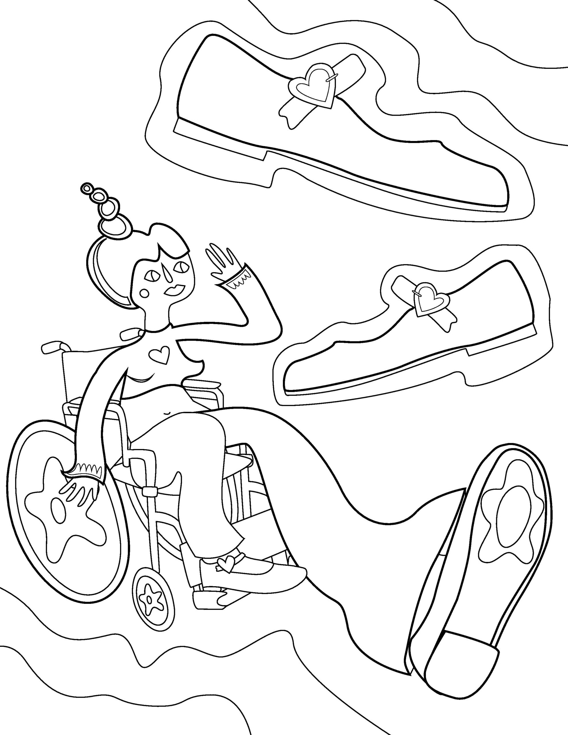 Colouring page illustration of a figure in a wheelchair with leg extended, accompanied by illustrations of shoes.