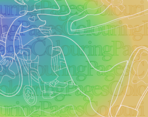 "Text reading ""Colouring Pages"" overlaid with an expressive illustration of a figure on a colour gradient background."