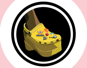 Illustration of the yellow Balenciaga platform Crocs.