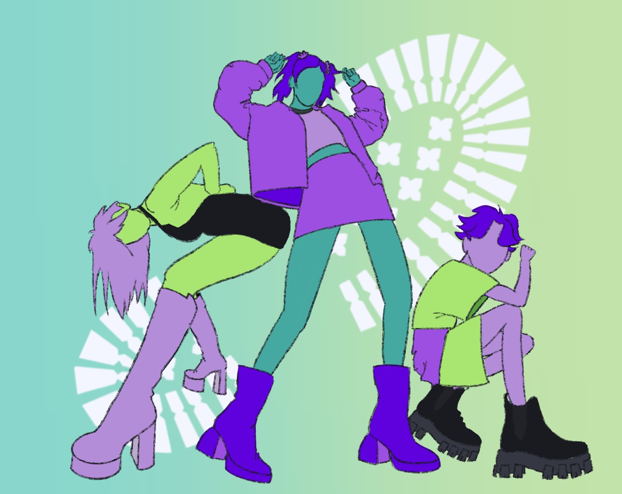 Colourful illustration of three figures modelling different boot styles.