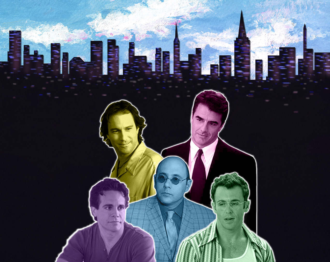 Digital collage featuring photographs of the 5 male characters from Sex and The City layered on top of the New York skyline.