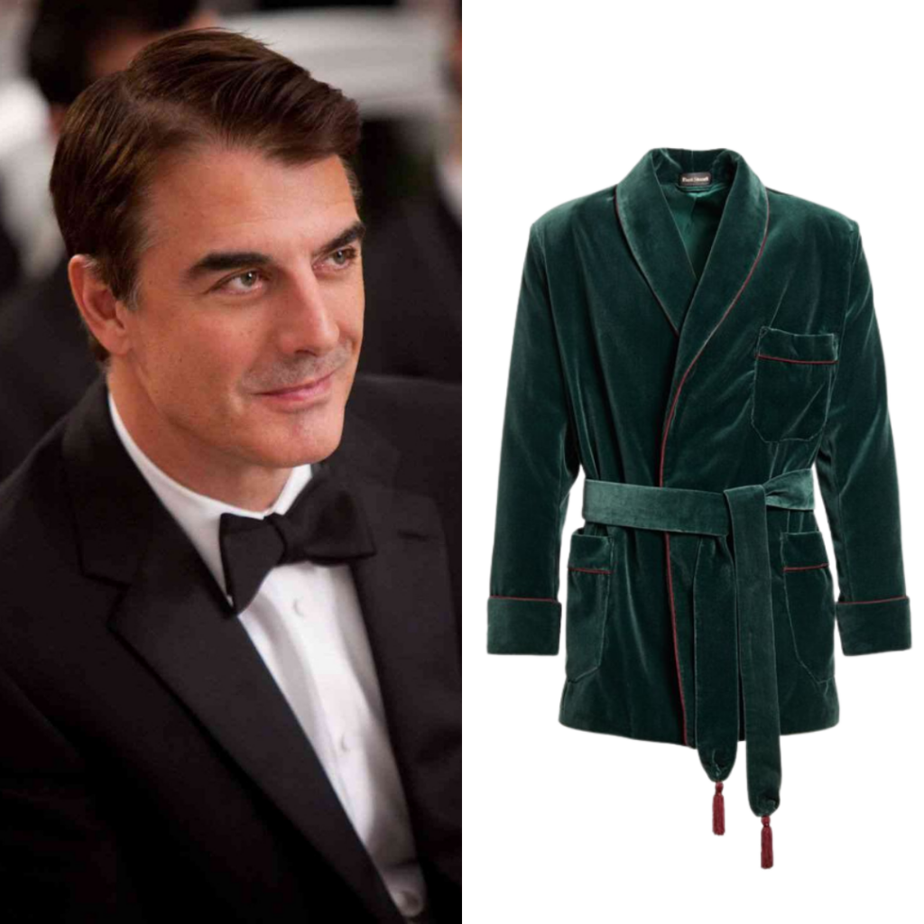 To the left: Mr. Big; to the right: Velvet Smoking Jacket, by Paul Stuart