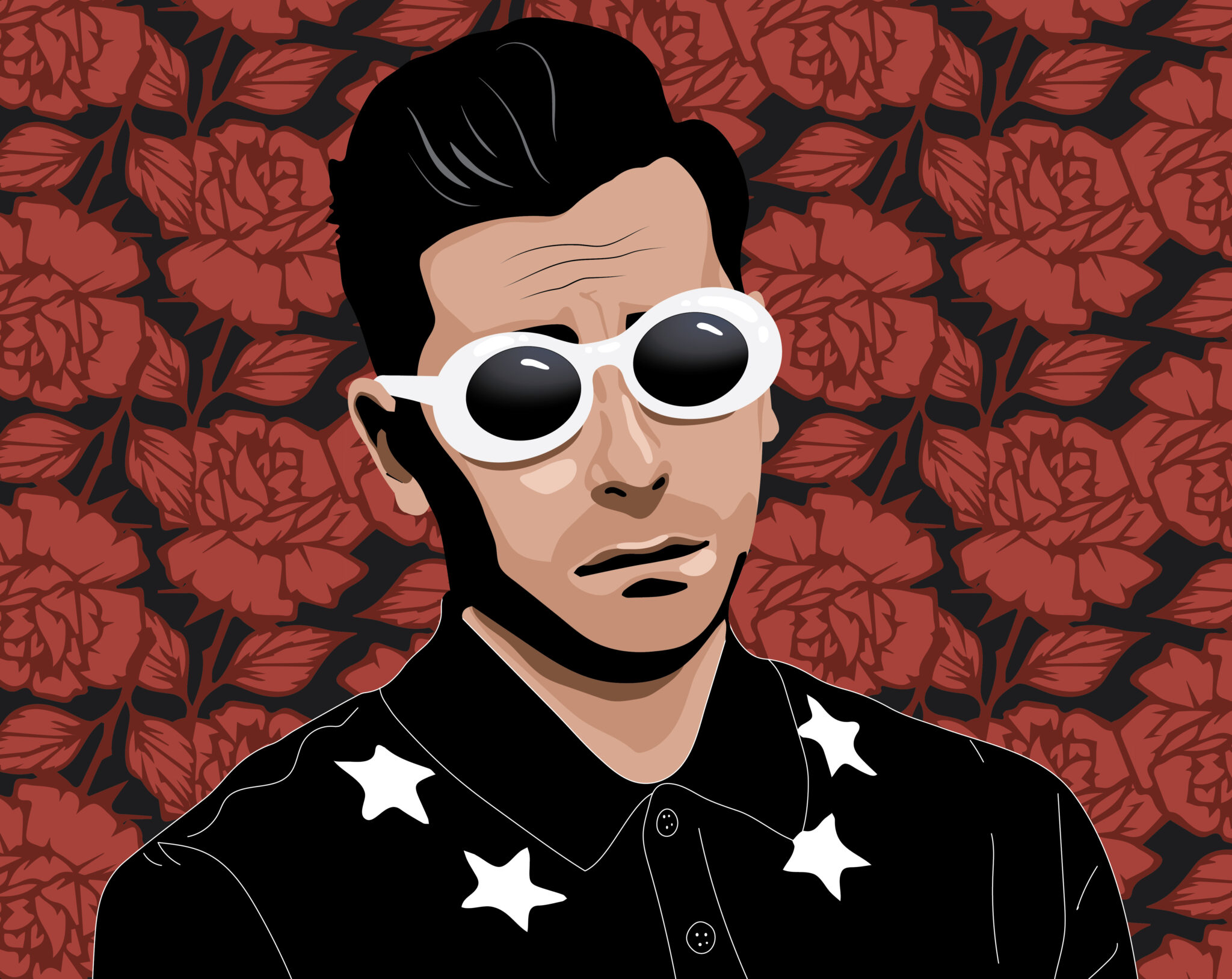 Digital illustration of David Rose from Schitt's Creek, wearing white sunglasses and a black Givenchy polo shirt with stars at the collar.