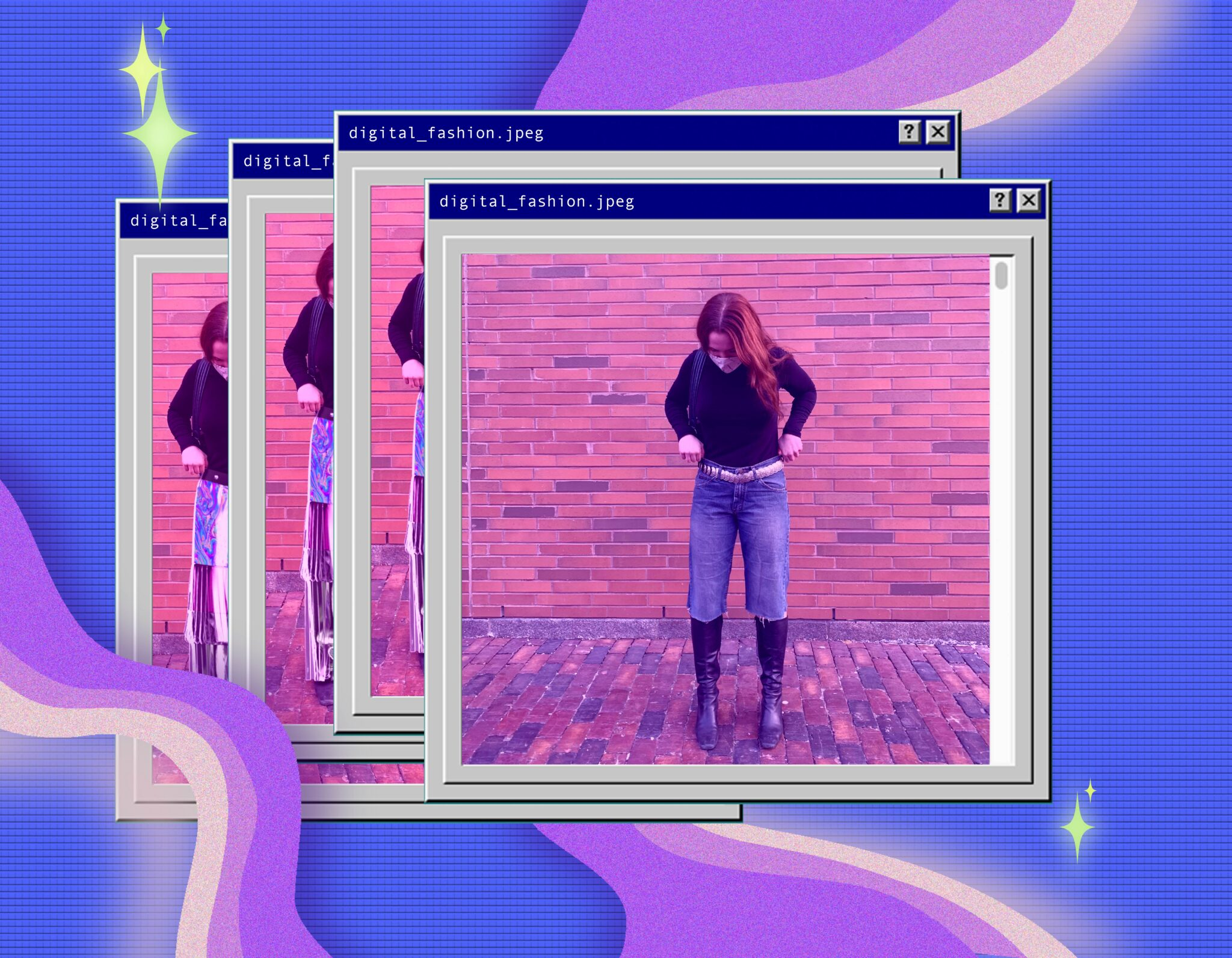 Digital composition rendering an early 2000's computer screen, featuring the photo of the author used to try on digital fashion.